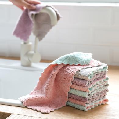 擦地抹布家務清潔吸水不掉毛加厚不沾油洗碗巾廚房洗碗布5條裝