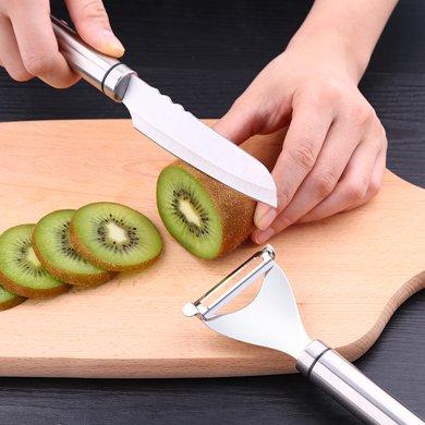 304不銹鋼水果刀削皮刀套裝削蘋果神器廚房瓜果刀刨刀刮皮器家用 01681 304水果刀+Y形刨