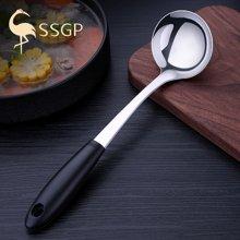 SSGP 德国304不锈钢大汤勺家用火锅勺子盛粥汤勺厨房加厚长柄 00361 黑狐汤勺