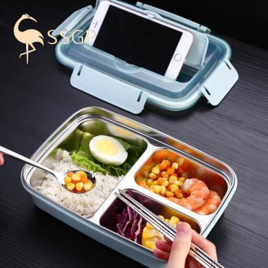 德國SSGP 304不銹鋼飯盒防燙密封學生保溫飯盒便攜分格午餐便當盒快餐盤