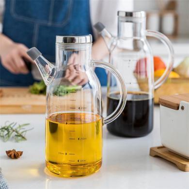 摩登主妇装油瓶家用厨房大容量套?#23433;?#29827;油壶酱油瓶醋壶防漏油罐