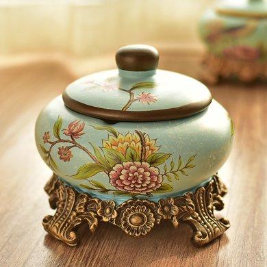 墨菲歐式田園創意帶蓋煙灰缸美式首飾儲物盒收納盒家居裝飾擺件