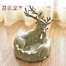 墨菲 欧式复古创意烟灰缸 美式麋鹿家居客厅树脂装饰复古瓜子果碟
