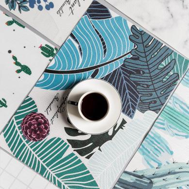 摩登主婦創意植物PVC防水餐墊隔熱墊家用餐桌碗盤墊防燙學生餐墊