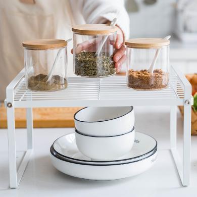 摩登主婦 廚房鐵藝分層置物架櫥柜多層收納架碗鍋調味罐儲物架子
