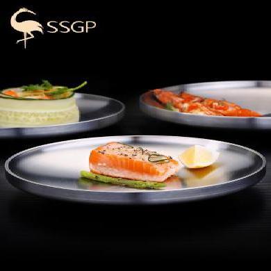 SSGP 德國304不銹鋼盤子圓盤雙層餐盤子菜盤家用碟子圓形歐式平盤