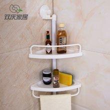 双庆魔力吸盘置物架浴室转角置物架厨房吸盘置物架双层吸盘置物架SQ-1907