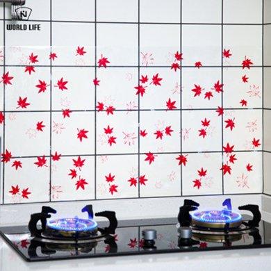 和匠  日式 廚房家用灶臺瓷磚防油貼紙耐高溫油煙機貼楓葉 櫻花圖案-Y-536