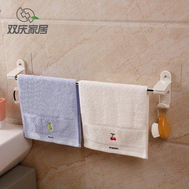 雙慶吸盤式毛巾架免打孔不銹鋼浴室單桿-雙桿毛巾桿衛生間毛巾掛架掛桿 SQ-*5106/7