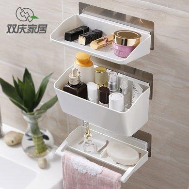 雙慶吸盤式浴室置物架廁所免打孔吸壁置物架衛生間壁掛廚房收納架SQ-5055