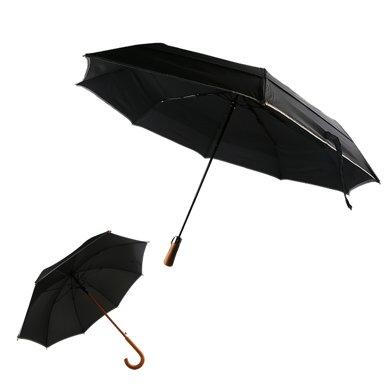 Re.cook 瑞庫客27寸自動開收上下雙層三折傘超大傘/23寸自動開木直桿傘(木柄傘系列)雨傘8骨骨架,強抗風