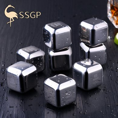 SSGP 不銹鋼冰塊304金屬速凍冰酒石冰粒器冰夾冰球威士忌冰鎮神器
