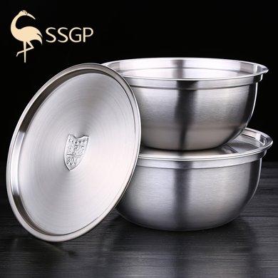 304不銹鋼盆帶蓋圓形湯盆加厚加深和面盆打蛋盆調料盆料理盆油盆