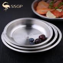SSGP德國 304不銹鋼盤盤子菜盤家用圓形餐盤碟子菜盤子創意加深厚0188 304深圓盤