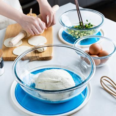 摩登主婦鋼化玻璃和面盆加深大號沙拉料理碗廚房烘焙打蛋工具帶蓋