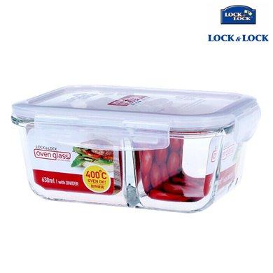 【包郵】樂扣樂扣LOCKLOCK-格拉斯耐熱玻璃保鮮盒630毫升飯盒帶分隔長方形