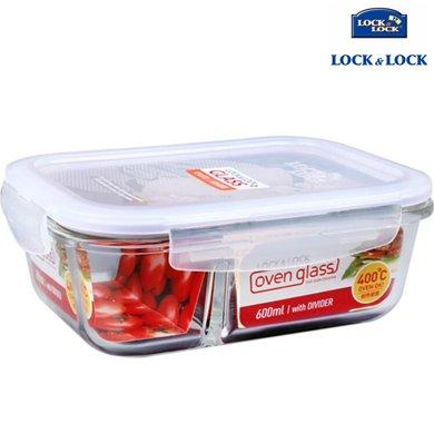 【包郵】樂扣樂扣LOCKLOCK-格拉斯耐熱玻璃保鮮盒600毫升飯盒帶分隔長方形