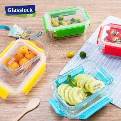 Glasslock进口保鲜盒 微波炉专用 钢化玻璃保鲜盒可拆卸盖-395ML