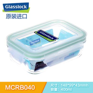 GLASSLOCK原裝進口鋼化玻璃飯盒保鮮盒微波爐飯盒便當盒400MLMCRB-040