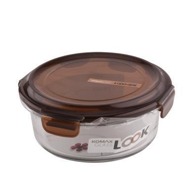 韓國KOMAX進口雙重密封耐熱鋼化玻璃保鮮盒圓形 800ml 咖啡色