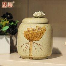 墨菲 中式新古典软装饰摆件东南亚创意美式写意陶瓷收纳罐储物罐