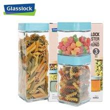 Glasslock 韓國進口日常生活玻璃糖果密封罐廚房積木式儲物罐IG589 方形3件套