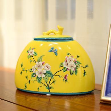 墨菲 新中式復古典陶瓷收納儲物罐美式客廳樣板房間軟裝飾品擺件