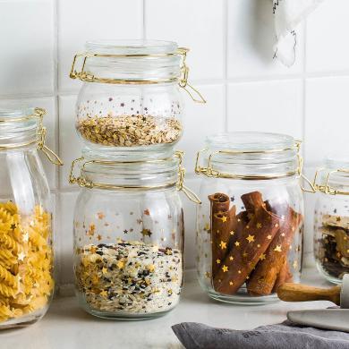 摩登主妇 食品储物罐蜂蜜柠檬百香果ins玻璃瓶泡菜坛子带盖密封罐