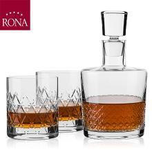 RONA洛娜帕拉迪洋酒樽三件套RN-W003P斯洛伐克进口水晶