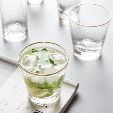 摩登主妇高?#36947;?#23376;?#24179;?#36793;玻璃杯锤目纹家用水杯果汁杯饮料杯子套装