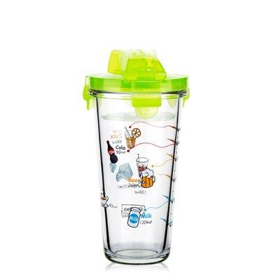 GlassLock玻璃杯玻璃水杯便攜杯搖搖杯鎖扣杯女生可愛帶蓋牛奶杯創意450ML