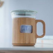 祥福辦公杯 玻璃耐熱水杯茶杯 樂透創意竹套把手馬克杯 企業禮物品定制