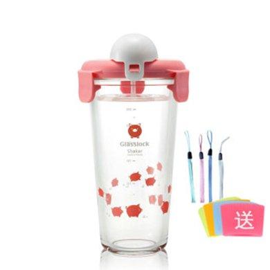GlassLock加厚玻璃水杯带刻度便携杯摇摇杯女学生韩国可爱牛奶杯450MLPC618