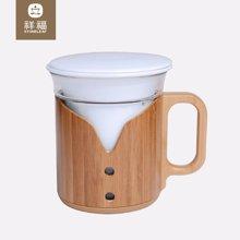 祥福 耐熱帶蓋花茶杯辦公杯樂透創意竹杯套影青陶瓷內膽三件杯 可企業禮品定制
