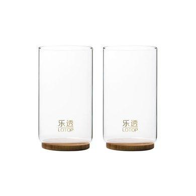 祥福樂透 竹制底座圓形玻璃杯花茶杯個人辦公杯(2只裝)