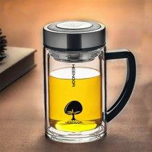 希诺双层玻璃杯隔热水晶杯带手柄办公室泡茶杯过滤网加厚透明水杯商务礼品杯6721