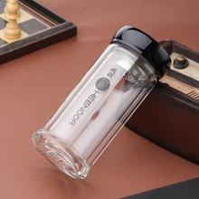 希诺双层玻璃杯 隔热茶杯带盖带滤网水杯透明水晶杯商务办公杯礼品杯 礼盒装XN-6706