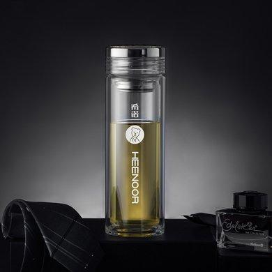 希諾高檔雙層玻璃杯男士辦公室茶杯過濾網隔熱透明水杯潮流杯商務辦公杯禮品杯XN-6518