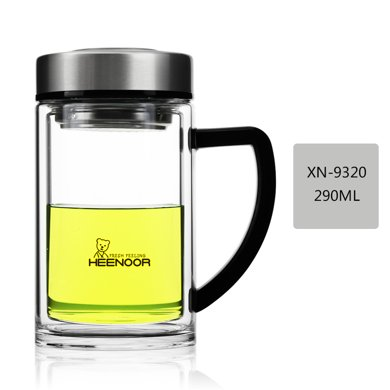希諾雙層玻璃杯隔熱水晶杯帶手柄辦公室泡茶杯過濾網加厚透明水杯