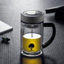 希诺双层玻璃杯隔热水晶杯带手柄办公室泡茶杯过滤网加厚透明水杯商务礼品杯6720