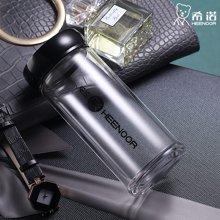 希诺单层玻璃杯办公茶杯 透明防漏带盖水杯无色透明杯子XN-6007