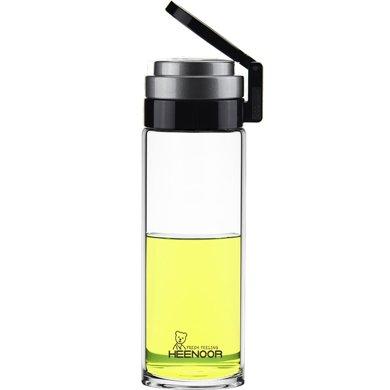 希诺单层玻璃杯运动水杯车载便携大容量泡茶杯子过滤透明杯?#22918;?#23376;