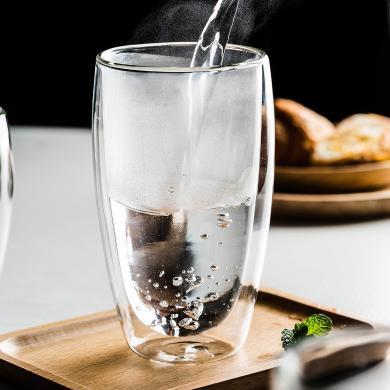 摩登主婦 雙層高硼硅玻璃杯水杯家用創意透明茶杯 耐熱杯子花茶杯 四個裝