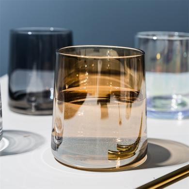 摩登主妇 炫彩离子镀玻璃杯家用威士忌酒杯透明水杯饮料果汁杯子