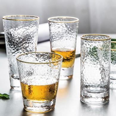 摩登主妇锤目?#24179;?#36793;玻璃杯家用酒杯套装水杯冷饮牛奶果汁杯子茶杯