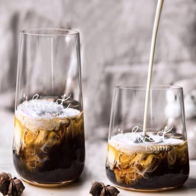 摩登主妇 Ins风北欧玻璃水杯 家用牛奶果汁杯咖啡杯饮料杯慕斯杯