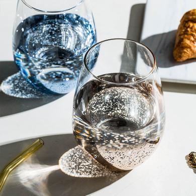摩登主妇 星空 ins创意高硼硅玻璃水杯鸡蛋杯电镀玻璃杯家用水杯