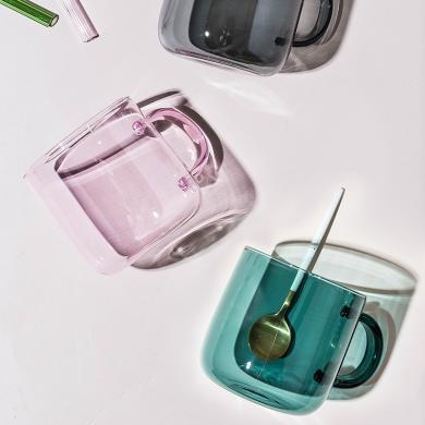 摩登主妇 创意带把家用玻璃?#20154;?#26479;简约马克杯家用办公室女杯子