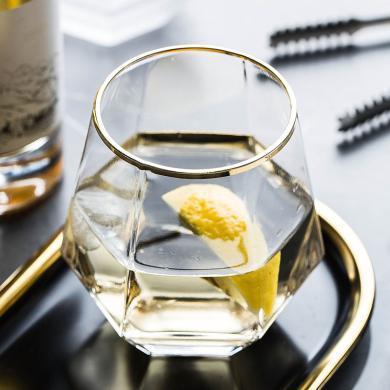 摩登主婦 描金六棱威士忌酒杯家用洋酒杯雞尾酒水晶玻璃杯子