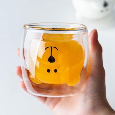 摩登主妇 水杯创意潮流可爱熊玻璃杯双层隔热水杯动物早餐牛奶杯